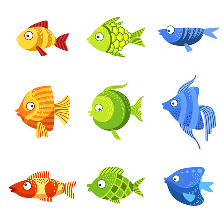 colorful fish: Colorful Fish Set Of Cute Bright Color Childish Design Vector Illustrations Isolated On White Background Illustration