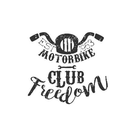 stirring: Motorbike Club Freedom Vintage Emblem. Hand Drawn Vintage Vector Logo. Old-School Design Vintage Stamp.