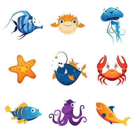 Colorida fauna marina Conjunto de lindo color brillante infantiles Diseño Ilustraciones del vector aislados sobre fondo blanco Foto de archivo - 57892293