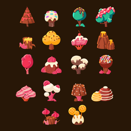 Chocolate Landscape Elements Set On Black Background. Fairy Tale Chocolate Land Landscape Design Elements. Cute Vector Flash Game Candy Land Design.