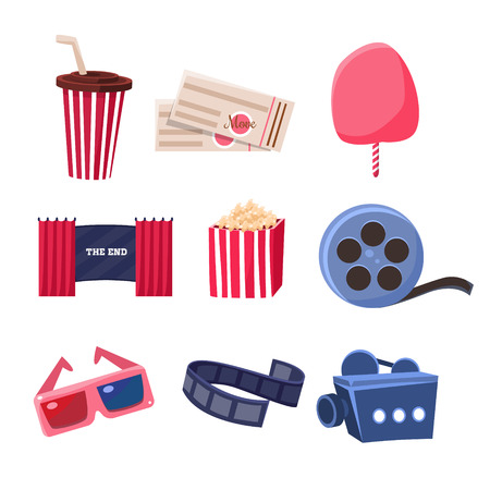 Movie Theatre Related Objects Set. Isolated Cinema Themed Items Drawings. Collection Of Vector Stickers Related To Movie Theatre. Vettoriali