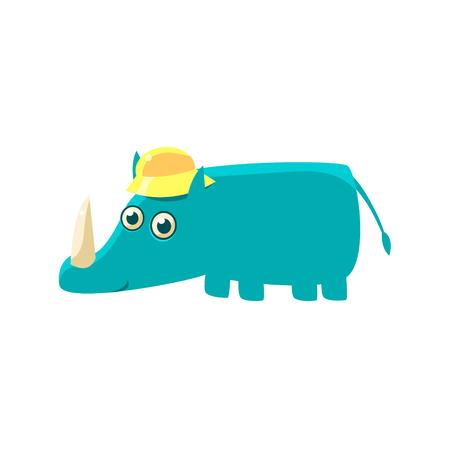 rhino vector: Blue Rhino In A Cap Illustration. Funny Childish Vector Rhinoceros Drawing. Flat Isolated Cartoon Animal Icon. Illustration