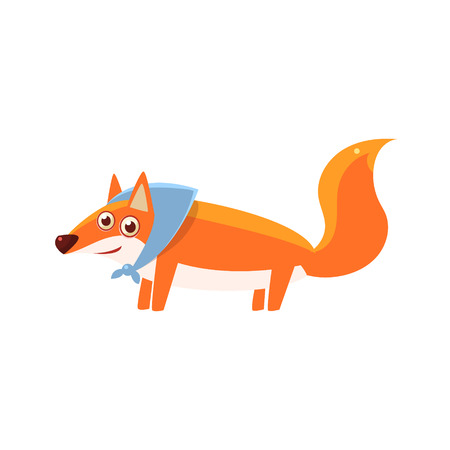 childish: Fox Wearing Headscarf Illustration. Funny Childish Vector Fox Drawing. Flat Isolated Cartoon Animal Icon.