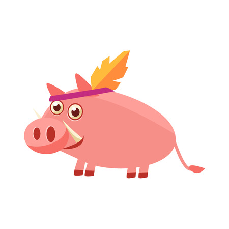 head gear: Pig Wearing Indian Head Gear Illustration. Funny Childish Vector Pig Drawing. Flat Isolated Cartoon Animal Icon. Illustration