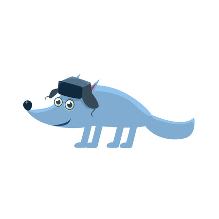 flaps: Wolf Wearing Hat With Ear Flaps Illustration. Funny Childish Vector Wolf Drawing. Flat Isolated Cartoon Animal Icon.
