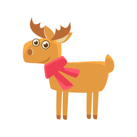 childish: Deer Wearing A Scarf Illustration. Funny Childish Vector Deer Drawing. Flat Isolated Cartoon Animal Icon.