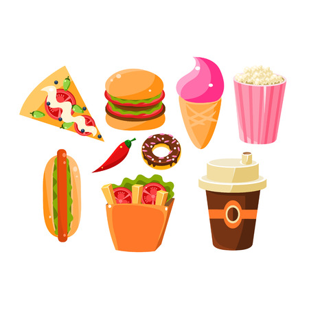 bad dog: Fast Food Items Set Of Isolated Icons. Junk food Collection Of Flat Vector Drawings. Bright Color Icons Of Fast Food And Drink. Illustration