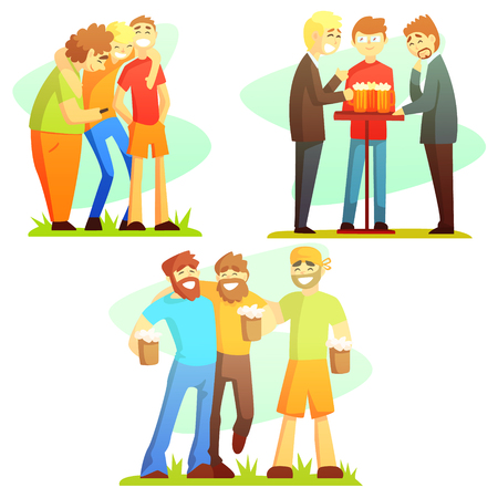 friends having fun: Man Friendship Three Colorful Illustrations. Guy Friends Drinking And Hanging Out Together Laughing And Smiling Friends Vector Flt Drawings.