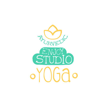 oriental medicine: Yoga Studio Hand Drawn Promotion Sign. Meditation Studio Advertisement Board. Cool Calligraphic Hand Drawn Vector Advertisement For Yoga Studio