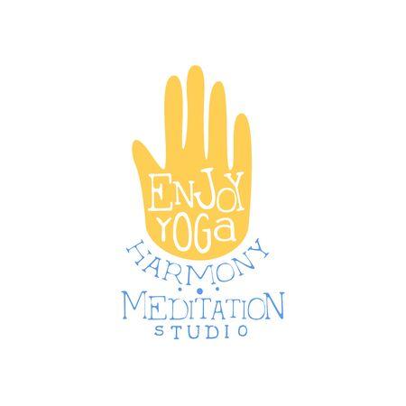 oriental medicine: Enjoy Yoga Hand Drawn Promotion Sign. Meditation Studio Advertisement Board. Cool Calligraphic Hand Drawn Vector Advertisement For Yoga Studio Illustration