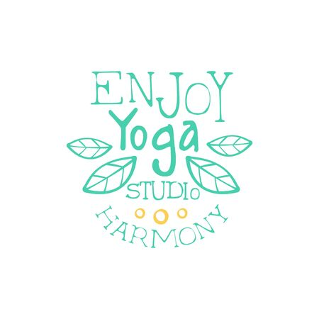 oriental medicine: Enjoy Harmony Hand Drawn Promotion Sign. Meditation Studio Advertisement Board. Cool Calligraphic Hand Drawn Vector Advertisement For Yoga Studio Illustration