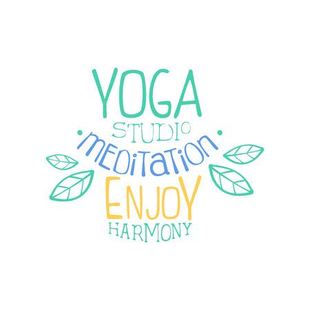 oriental medicine: Meditation Studio Hand Drawn Promotion Sign. Meditation Studio Advertisement Board. Cool Calligraphic Hand Drawn Vector Advertisement For Yoga Studio