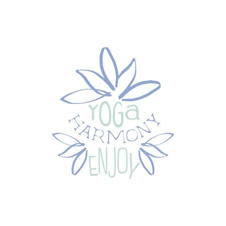 oriental medicine: Yoga Harminy Hand Drawn Promotion Sign. Meditation Studio Advertisement Board. Cool Calligraphic Hand Drawn Vector Advertisement For Yoga Studio Illustration