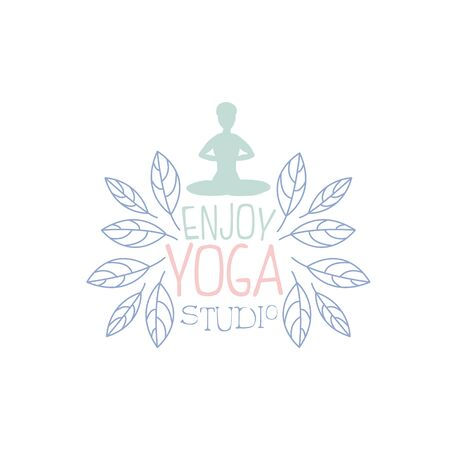 oriental medicine: Yoga Practice Hand Drawn Promotion Sign. Meditation Studio Advertisement Board. Cool Calligraphic Hand Drawn Vector Advertisement For Yoga Studio