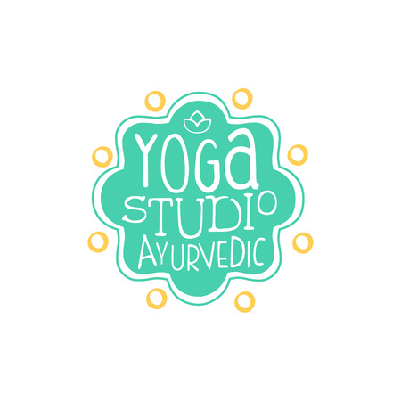oriental medicine: Ayurvedic Yoga Studio Hand Drawn Promotion Sign. Meditation Studio Advertisement Board. Cool Calligraphic Hand Drawn Vector Advertisement For Yoga Studio