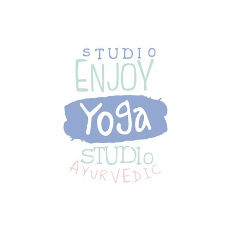 oriental medicine: Studio Yoga Hand Drawn Promotion Sign. Meditation Studio Advertisement Board. Cool Calligraphic Hand Drawn Vector Advertisement For Yoga Studio