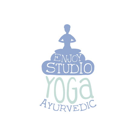 oriental medicine: Yoga Ayurvedic Studio Hand Drawn Promotion Sign. Meditation Studio Advertisement Board. Cool Calligraphic Hand Drawn Vector Advertisement For Yoga Studio Illustration