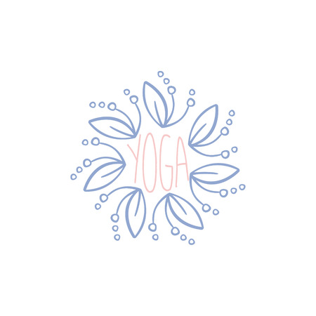 oriental medicine: Yoga Hand Drawn Label. Decorative Framed Text For Yoga Studio Ad. Calligraphic Vector Design Sign For Yoga Promotion. Illustration