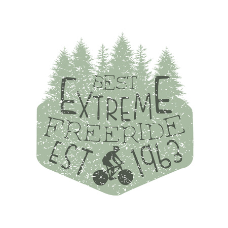 freeride: Forest Silhouette Freeride Vintage Label. Black And White Freeride Club Hand Drawn Emblem. Monochrome Retro Vector Designed Stamp. Illustration