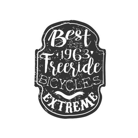 freeride: Best Freeride Vintage Badge. Black And White Freeride Club Hand Drawn Emblem. Monochrome Retro Vector Designed Stamp.
