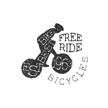 freeride: Freeride Bicycles Vintage Label. Black And White Freeride Club Hand Drawn Emblem. Monochrome Retro Vector Designed Stamp. Illustration