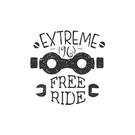 freeride: Freeride Vintage Label With Glasses. Black And White Freeride Club Hand Drawn Emblem. Monochrome Retro Vector Designed Stamp.