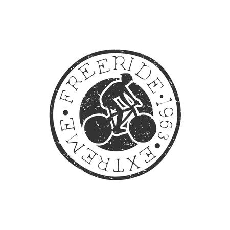 freeride: Freeride Round Vintage Stamp. Black And White Freeride Club Hand Drawn Emblem. Monochrome Retro Vector Designed Stamp.