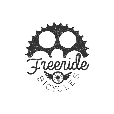 established: Freeride Vintage Label With Gear Silhouette. Black And White Freeride Club Hand Drawn Emblem. Monochrome Retro Vector Designed Stamp. Illustration