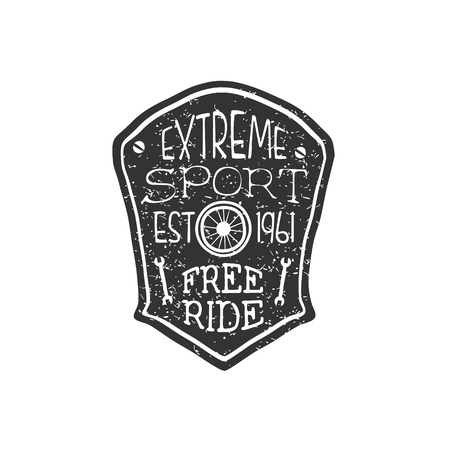 extreme sport: Extreme Sport Vintage Badge. Black And White Freeride Club Hand Drawn Emblem. Monochrome Retro Vector Designed Stamp.