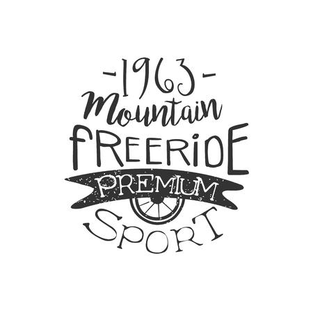 freeride: Mountain Freeride Vintage Label. Black And White Freeride Club Hand Drawn Emblem. Monochrome Retro Vector Designed Stamp. Illustration