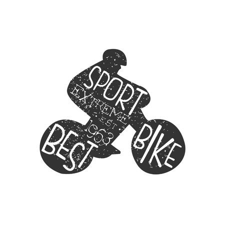 freeride: Best Bike Vintage Label. Black And White Freeride Club Hand Drawn Emblem. Monochrome Retro Vector Designed Stamp.