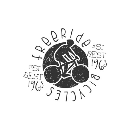 freeride: Freeride Bicycles Vintage Stamp. Black And White Freeride Club Hand Drawn Emblem. Monochrome Retro Vector Designed Stamp. Illustration