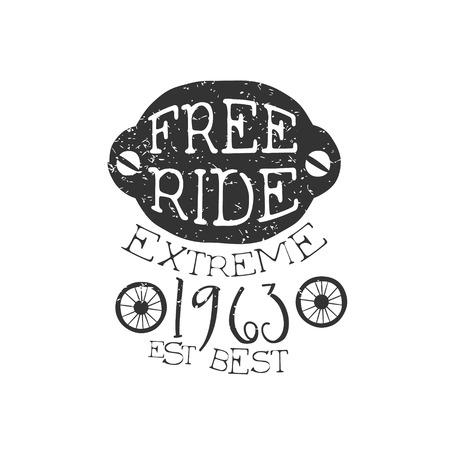 freeride: Freeride Extreme Vintage Label. Black And White Freeride Club Hand Drawn Emblem. Monochrome Retro Vector Designed Stamp.