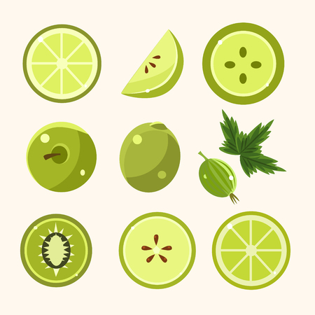fresh food: Fresh Green Fruits And Vegetables Set. Green Color Vegetarian Food Flat Icons Collection. Ingredients For The Green Smoothie Vector Illustration.