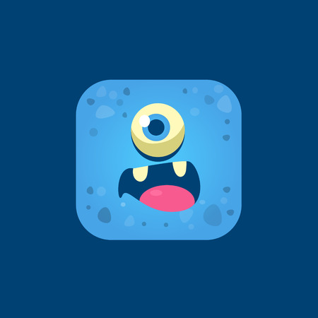 one eyed: Surprised Blue Monster Emoji Icon. Creative Vector Emoticon Alien Monster Face. Cartoon Monster Character Square Button Drawing.