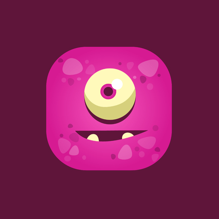 hopeful: Hopeful Purple Monster Emoji Icon. Creative Vector Emoticon Alien Monster Face. Cartoon Monster Character Square Button Drawing.