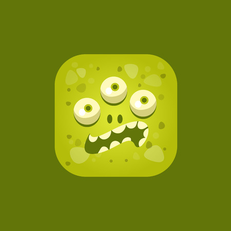 pissed off: Annoyed Green Monster Emoji Icon. Creative Vector Emoticon Alien Monster Face. Cartoon Monster Character Square Button Drawing.