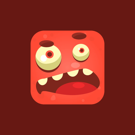 sceptic: Doubtful Red Monster Emoji Icon. Creative Vector Emoticon Alien Monster Face. Cartoon Monster Character Square Button Drawing.