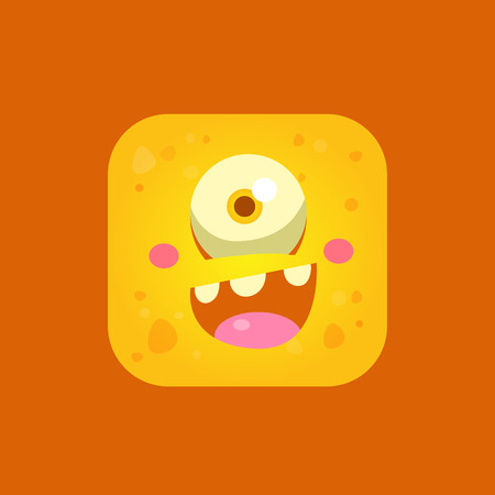 one eyed: Happy Yellow Monster Emoji Icon. Creative Vector Emoticon Alien Monster Face. Cartoon Monster Character Square Button Drawing.