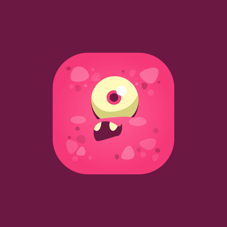 one eyed: Feeling Stupid Pink Monster Emoji Icon. Creative Vector Emoticon Alien Monster Face. Cartoon Monster Character Square Button Drawing. Illustration