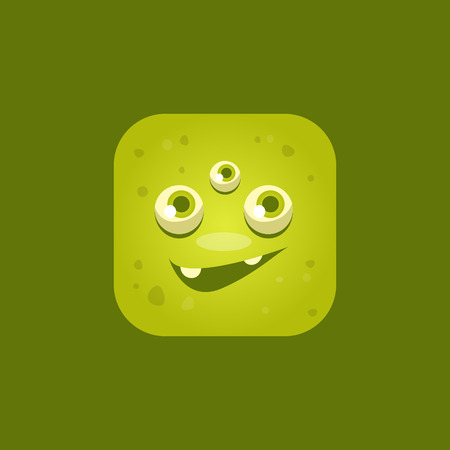 eyed: Smiling Green Monster Emoji Icon. Creative Vector Emoticon Alien Monster Face. Cartoon Monster Character Square Button Drawing.