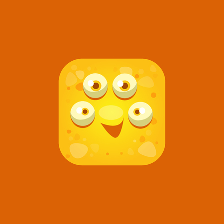flirty: Content Yellow Monster Emoji Icon. Creative Vector Emoticon Alien Monster Face. Cartoon Monster Character Square Button Drawing. Illustration