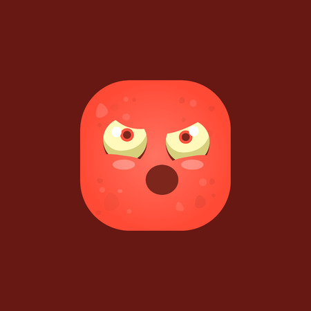 face off: Pissed Off Red Monster Emoji Icon. Creative Vector Emoticon Alien Monster Face. Cartoon Monster Character Square Button Drawing.