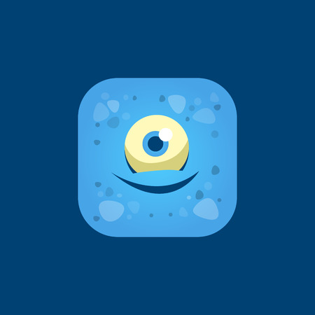 one eyed: Pleased Blue Monster Emoji Icon. Creative Vector Emoticon Alien Monster Face. Cartoon Monster Character Square Button Drawing.