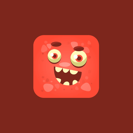 cheeky: Cheeky Red Monster Emoji Icon. Creative Vector Emoticon Alien Monster Face. Cartoon Monster Character Square Button Drawing.