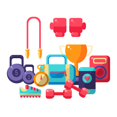 inventory: Gym Inventory Items Collection. Flat Colorful Vector Illustration With Fitness Inventory. Training Equipment Vector Illustration.