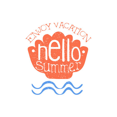 beach ad: Enjoy Vacation Colorful Ad. Colorful Summer Beach Holiday Promotion Banner. Cool Calligraphic Hand Drawn Vector Advertisement For Travel Agency. Illustration