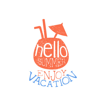 beach ad: Enjoy Holidays Colorful Ad. Colorful Summer Beach Holiday Promotion Banner. Cool Calligraphic Hand Drawn Vector Advertisement For Travel Agency.