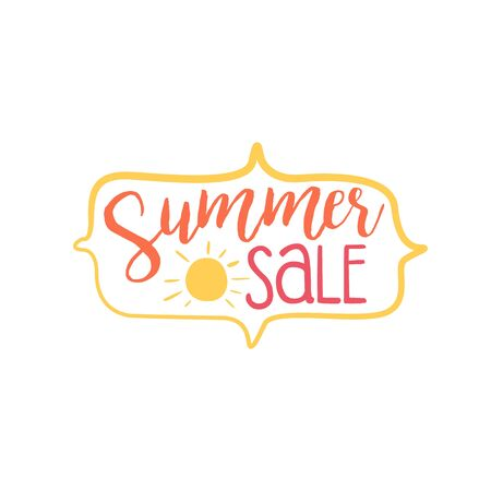 beach ad: Summer Discount Colorful Ad. Colorful Summer Beach Holiday Promotion Banner. Cool Calligraphic Hand Drawn Vector Advertisement For Travel Agency.