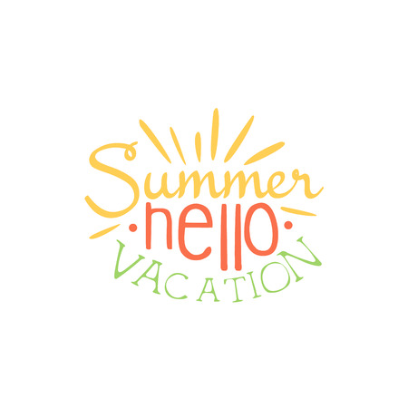 touristic: Touristic Agency Colorful Ad. Colorful Summer Beach Holiday Promotion Banner. Cool Calligraphic Hand Drawn Vector Advertisement For Travel Agency. Illustration